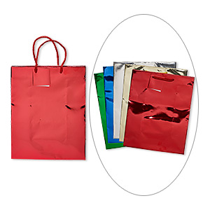 Gift Bag, Paper Nylon, Assorted Metallic Colors, 9-3/4 X 8 Inches Handle Tag. Sold Per Pkg 5