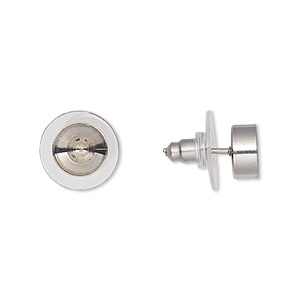 Earstud, Almost Instant Jewelry®, Acrylic Stainless Steel, Clear, 8mm SS34 Rivoli Setting. Sold Per Pkg 2 Pairs 3334MT