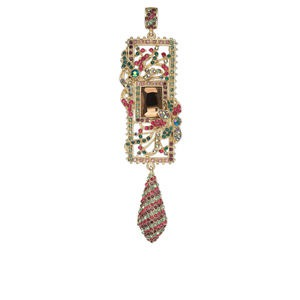 Pendant, Czech Glass Rhinestone Gold-finished Brass, Red Green, 4 X 1/4 Inch Rectangle Teardrop. Sold Individually 3337JE
