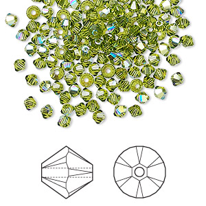 Bead, Swarovski® Crystals, Crystal Passions®, Olivine AB, 3mm Xilion Bicone (5328). Sold Per Pkg 48 5328