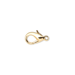 Clasp, Lobster Claw, Gold-plated Brass, 13x8mm. Sold Per Pkg 10