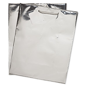 Gift Bag, Paper Nylon, Metallic Silver, 9-3/4 X 8 Inches Handle Tag. Sold Per Pkg 2
