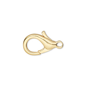 Clasp, Lobster Claw, Gold-plated Brass, 17x11mm. Sold Per Pkg 10