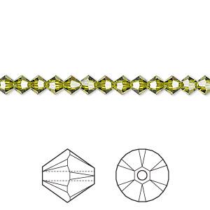 Bead, Swarovski® Crystals, Crystal Passions®, Olivine, 4mm Xilion Bicone (5328). Sold Per Pkg 48 5328
