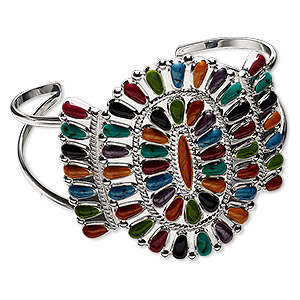 Bracelet, cuff, enamel and silver-plated brass, multicolored, up to 49mm wide Navajo-style cluster design, adjustable. Sold individually.