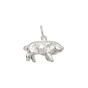 Charm, Sterling Silver, 20x11mm Pig. Sold Individually