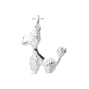 Charm, Sterling Silver, 23x18mm Poodle. Sold Individually
