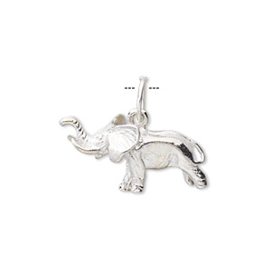 Charm, Sterling Silver, 22x12mm Elephant. Sold Individually