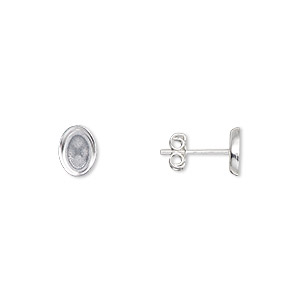 Earstud, Sterling Silver-filled, 7.5x5.5mm 7x5mm Oval Setting. Sold Per Pkg 2 Pairs