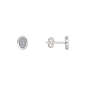 Earstud, Sterling Silver-filled, 9x7mm 8x6mm Oval Setting. Sold Per Pkg 2 Pairs