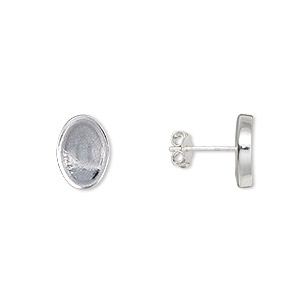 Earstud, Sterling Silver-filled, 15x11mm 14x10mm Oval Setting. Sold Per Pair