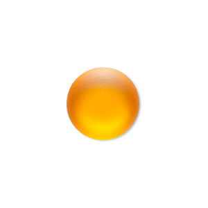 Cabochon, Lunasoft, Aluminum Lucite®, Matte Mango, 18mm Non-calibrated Round. Sold Individually 13194 18MM MANGO