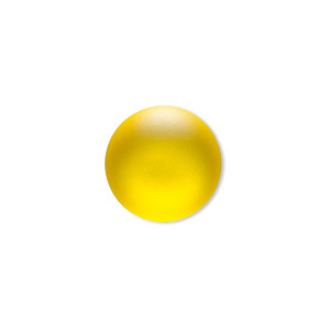 Cabochon, Lunasoft, Aluminum Lucite®, Matte Lemon, 18mm Non-calibrated Round. Sold Individually 13194 18MM LEMON