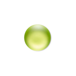 Cabochon, Lunasoft, Aluminum Lucite®, Matte Lime, 18mm Non-calibrated Round. Sold Individually 13194 18MM LIME