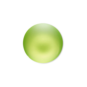 Cabochon, Lunasoft, Aluminum Lucite®, Matte Lime, 24mm Non-calibrated Round. Sold Individually 13194 24MM LIME