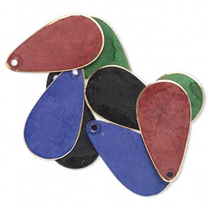 Drop, Brass, Assorted Jewel Tone Patina, Assorted Pantone® Colors, 24x12mm Double-sided Teardrop. Sold Per Pkg 8