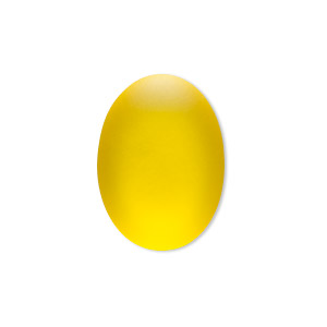 Cabochon, Lunasoft, Aluminum Lucite®, Matte Lemon, 25x18mm Non-calibrated Oval. Sold Individually 13195 25/18MM LEMON