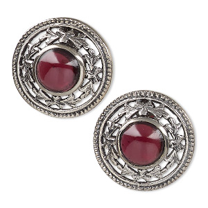 Earstud Earrings Garnet Silver Colored