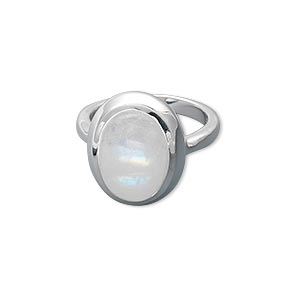 Finger Rings Rainbow Moonstone Silver Colored
