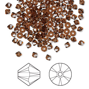 Bead, Swarovski® Crystals, Crystal Passions®, Smoked Topaz, 3mm Xilion Bicone (5328). Sold Per Pkg 48 5328