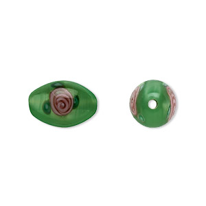 Czech Beads Lampwork Glass Greens