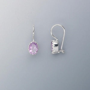 Earring, Sterling Silver Amethyst (natural), 7x6mm Faceted Oval, 18x7mm. Sold Per Pair 3491JE