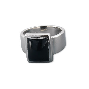 Finger Rings Onyx Silver Colored