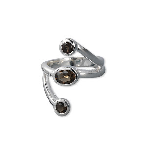 Finger Rings Smoky Quartz Silver Colored