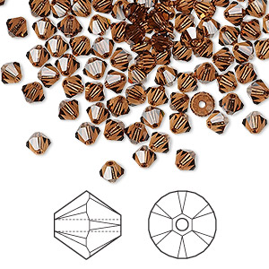 Bead, Swarovski® Crystals, Crystal Passions®, Smoked Topaz, 4mm Xilion Bicone (5328). Sold Per Pkg 48 5328