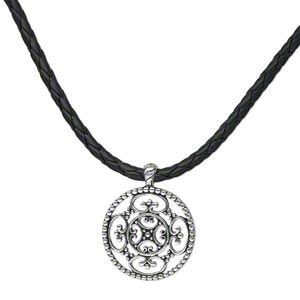 "Necklace, Antique Silver-plated ""pewter"" (zinc-based Alloy) Steel / Leather / Polyurethane, Black, 35mm Fancy Flat Round Woven Bolo Cord, 18 Inches Lobster Claw Clasp 3-inch Extender Chain. Sold Individually 3543JD"