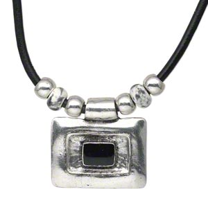 "Necklace, Antique Silver-plated ""pewter"" (zinc-based Alloy) Steel / Leather / Porcelain, Black / White / Grey, 52x40mm Rectangle Smooth Leather Cord, 18-inches Lobster Claw Clasp 3-inch Extender Chain. Sold Individually 3545JD"