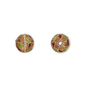Bead, Cloisonné, Enamel Gold-finished Copper, Multicolored, 10mm Round Dots Swirls Design. Sold Per Pkg 4