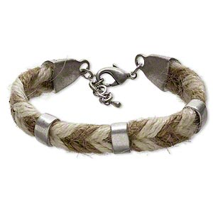 Bracelet, hemp / pewter (tin-based alloy) / steel, brown and white, 16x10mm rondelle, 8-1/2 inches with lobster claw clasp and 1-inch extender chain. Sold individually.