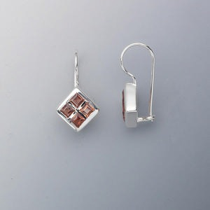 Fishhook Earrings Garnet Silver Colored