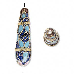 Bead, Cloisonné, Enamel Gold-finished Copper, Blue Multicolored, 42x12mm Teardrop Swirls Teardrops Design. Sold Per Pkg 2