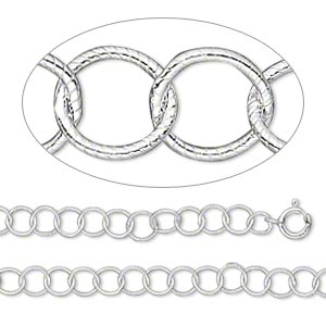 Chain, Sterling Silver, 4.8mm Ribbed Round, 16 Inches Springring Clasp. Sold Individually