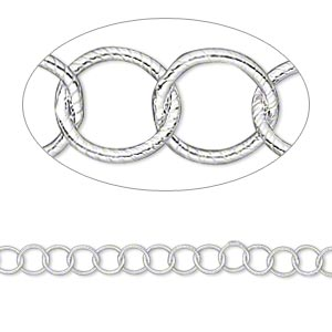 Chain, Sterling Silver, 4.8mm Ribbed Round. Sold Per Pkg 5 Feet