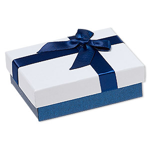 gift box cardboard paper velveteen nylon blue shimmer white black 1 x 2 12 x 3 12 inch rectangle with ribbon and bow sold per pkg of 12
