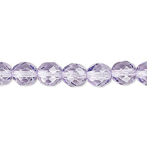Bead, Czech Fire-polished Dipped Décor Glass, Lilac, 8mm Faceted Round. Sold Per 16-inch Strand, Approximately 50 Beads 152-19001-17-8mm-00030-73002