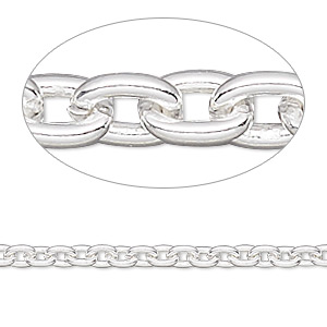 Chain, Sterling Silver-filled, 3mm Cable. Sold Per Pkg 5 Feet