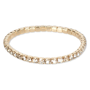 Bracelet, stretch, Swarovski® crystals and gold-plated brass, crystal  golden shadow, 4.5mm wide, 6-1 2 inches. Sold individually. c7dc74ba3cee