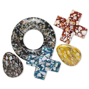 Focal Mix, Mother-of-pearl Shell Resin (assembled), Multicolored, 39x30mm-69x67mm Mixed Shape. Sold Per Pkg 5