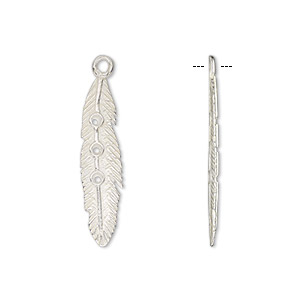 Drop, JBB Findings, Silver-plated Brass, 25x6mm Single-sided Feather (3) PP8 Chaton Settings. Sold Individually 9592SP