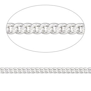Chain, Sterling Silver-filled, 2.7mm Curb. Sold Per 50-foot Spool