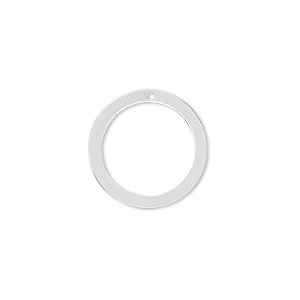 Drop, Sterling Silver, 18mm Open Round. Sold Per Pkg 4