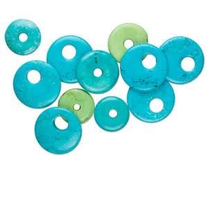 Focal Component Mix, Magnesite (dyed / Stabilized), Blue Green, 25-50mm Round Donut Go-go, Mohs Hardness 3-1/2 4. Sold Per 250-gram Pkg, Approximately 10-15 Pieces