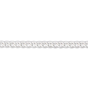 Chain, Sterling Silver-filled, 3.5mm Curb. Sold Per 50-foot Spool
