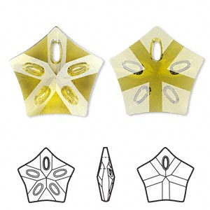 Focal, Swarovski® Crystals, Crystal Passions®, Olivine, 32x30mm Faceted Lotus Pendant (6908). Sold Individually 6908