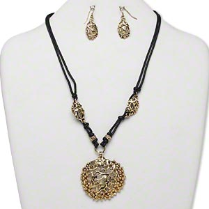 Necklace and earring, hemp cord with antiqued gold-finished