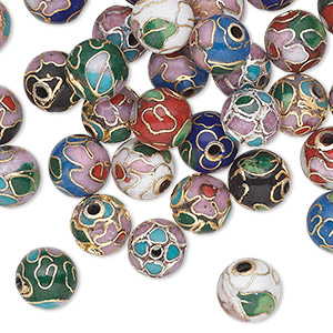 Bead Mix, Cloisonné, Enamel Gold-finished Silver-plated Copper, Multicolored, 8mm Round Flower Leaves. Sold Per Pkg 36